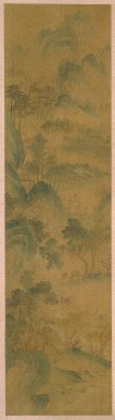 1 of 4-Panel Screen: Scenes of Four Seasons, 19th century. Ink and light color on paper, Image: 58 1/4 x 14 15/16 in. (148 x 38 cm). Brooklyn Museum, Gift of Francis H. Scola, 78.205.1