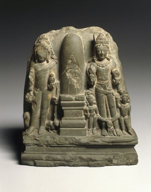 Brahmanical Triad, early 8th century. Chlorite, 7 1/8 x 6 1/4 in. (18.1 x 15.9 cm). Brooklyn Museum, A. Augustus Healy Fund and Asian Art Acquisition Fund, 78.209. Creative Commons-BY