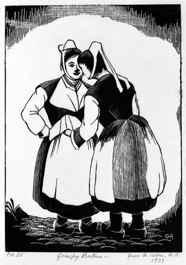 Grace Arnold Albee (American, 1890-1995). Gossipy Bretons, 1977. Wood engraving on vellum, Image: 6 x 4 15/16 in. (15.2 x 12.5 cm). Brooklyn Museum, Designated Purchase Fund, 78.230.1. © Estate of Grace Arnold Albee