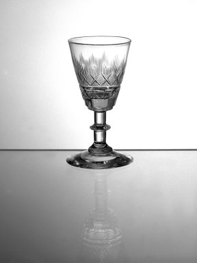 One of Pair of Wine Glasses, Blown and Cut, 1860. Glass, 2 1/8 x 2 1/4 in. (5.4 x 5.7 cm). Brooklyn Museum, Gift of Allison C. Paulsen in memory of Arthur W. Clement, 78.242.14. Creative Commons-BY
