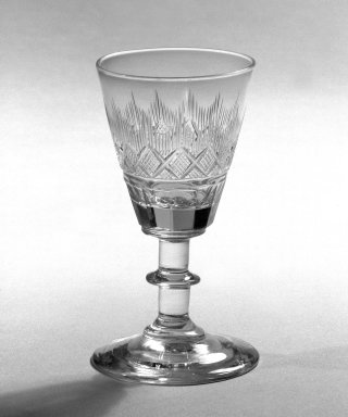 One of Pair of Wine Glasses, Blown and Cut, 1860. Glass, 2 1/8 x 2 1/4 in. (5.4 x 5.7 cm). Brooklyn Museum, Gift of Allison C. Paulsen in memory of Arthur W. Clement, 78.242.15. Creative Commons-BY