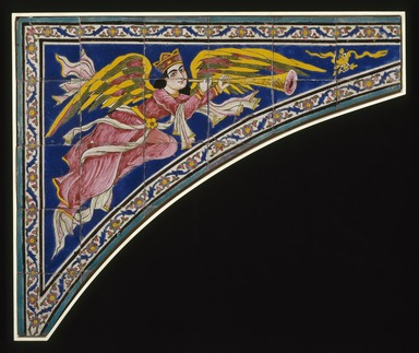 Tile Spandrel (One of Two), ca. 1870. Ceramic; fritware, painted in cobalt blue, pink, yellow, and green glazes in the cuerda seca (dry-cord) technique, 38 1/2 x 46 1/8 in. (97.8 x 117.2 cm). Brooklyn Museum, Gift of Mr. and Mrs. Paul E. Manheim, 78.244.2. Creative Commons-BY