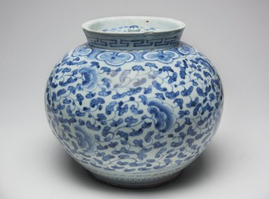 Jar with Lid, late 19th century. Porcelain with under glaze cobalt decoration, Height: 7 7/8 in. (20 cm). Brooklyn Museum, Gift of Bernice and Robert Dickes, 78.247.1a-b. Creative Commons-BY
