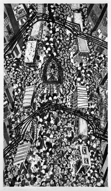 Madeline Poster (American, born 1948). Festival of San Gennaro - Mulberry Street, 1978. Etching on paper, sheet: 29 3/4 x 22 1/4 in. (75.6 x 56.5 cm). Brooklyn Museum, Designated Purchase Fund, 78.25.1. © Madeline Poster