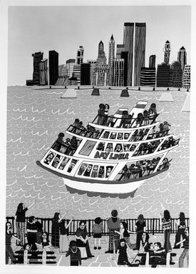 Madeline Poster (American, born 1948). Day Liner's Promenade, 1977. Serigraph on paper, sheet: 40 1/2 x 29 5/8 in. (102.9 x 75.2 cm). Brooklyn Museum, Designated Purchase Fund, 78.25.7. © Madeline Poster