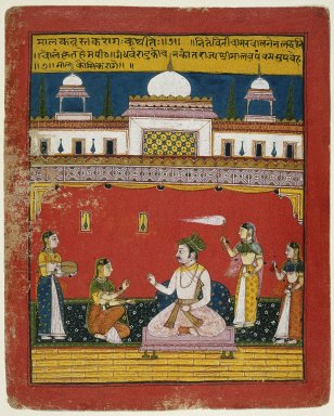 Indian. Malakausika Raga, Page from a Dispersed Ragamala Series, ca. 1640-1650. Opaque watercolor and gold on paper, sheet: 9 3/4 x 14 1/16 in.  (24.8 x 35.7 cm). Brooklyn Museum, Anonymous gift, 78.256.2