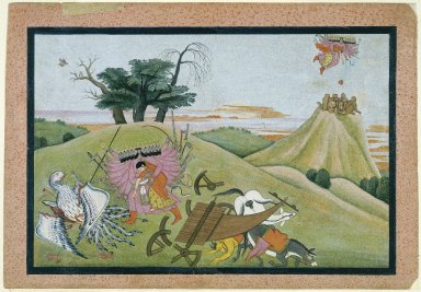 Indian. The Abduction of Sita, Page from an illustrated manuscript of the Ramayana, ca. 1775. Opaque watercolor, silver, and gold on paper, sheet: 9 3/4 x 14 1/16 in.  (24.8 x 35.7 cm). Brooklyn Museum, Anonymous gift, 78.256.3