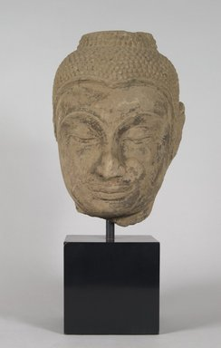 Head of a Buddha, 17th century. Stone, 11 x 7 1/2 x 5 in.  (27.9 x 19.1 x 12.7 cm). Brooklyn Museum, Gift of Anthony A. Manheim, 78.258.1. Creative Commons-BY