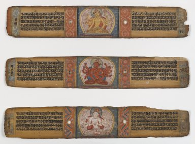 Three Illustrated Palm Leaves from a Pancharaksha Manuscript, 11th - 12th Century. Opaque watercolors and ink on palm leaves, Each: 2 1/2 x 12 3/4 in. (6.4 x 32.4 cm). Brooklyn Museum, Gift of Mr. and Mrs. Robert L. Poster, 78.260.3