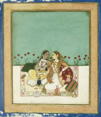 Indian. Two Women on a Terrace, ca. after 1700. Opaque watercolor and gold on paper, sheet: 8 x 7 3/4 in.  (20.3 x 19.7 cm). Brooklyn Museum, Gift of Mr. and Mrs. Robert L. Poster, 78.260.4