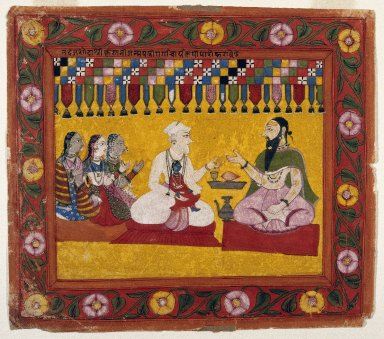 Brooklyn Museum: Nanda Requests a Horoscope for Krishna, Page from a Bhagavata Purana series