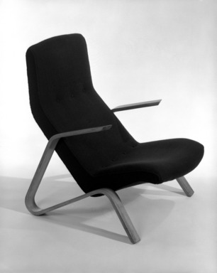 "Eero Saarinen (American, born Finland, 1910-1961). ""Grasshopper"" Highback Armchair, Designed ca. 1947, Manufactured ca. 1948. Bentwood, wool, Height: 35 1/2 (90.2 cm.); Width: 35 3/8 in.  (64.5 cm.). Brooklyn Museum, Gift of Dr. Aaron H. Esman, 78.2. Creative Commons-BY"