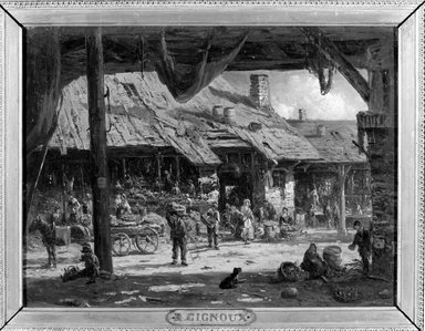 Régis François Gignoux (French, active United States, 1816-1882). Market Scene, ca. 1862. Oil on canvas, 12 1/16 x 16 1/16 in. (30.6 x 40.8 cm). Brooklyn Museum, Gift of Marquise D'Oncieu, 78.47