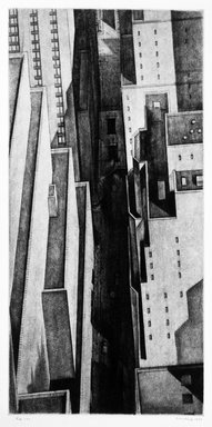 Armin Landeck (American, 1905-1984). Manhattan Canyon, 1934. Drypoint on wove paper, Sheet: 17 11/16 x 10 9/16 in. (45 x 26.8 cm). Brooklyn Museum, Designated Purchase Fund, 78.62.1. © Estate of Armin Landeck