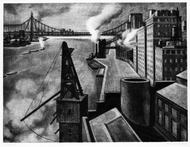 Armin Landeck (American, 1905-1984). East River Drive, 1941. Copper Engraving on wove paper, Sheet: 14 7/8 x 17 7/8 in. (37.8 x 45.4 cm). Brooklyn Museum, Designated Purchase Fund, 78.62.5. © Estate of Armin Landeck