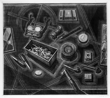 Armin Landeck (American, 1905-1984). Engraver's Tools, 1947. Copper Engraving, Sheet: 19 3/4 x 21 1/2 in. (50.2 x 54.6 cm). Brooklyn Museum, Designated Purchase Fund, 78.62.9. © Estate of Armin Landeck