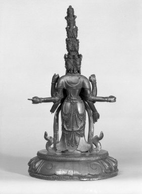 Eleven-Headed Avalokitesvara, 18th century. Wood, lacquer, gold paint, 15 3/8 x 8 1/4 in. (39.1 x 21 cm). Brooklyn Museum, Designated Purchase Fund, 78.88. Creative Commons-BY