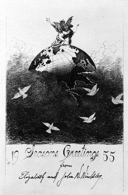 John W. Winkler (American, born Austria, 1890-1979). Season's Greetings Card, 1955. Etching on paper, sheet: 8 x 5 5/8 in. (20.3 x 14.3 cm). Brooklyn Museum, Gift of the artist, 78.97.13. © Estate of John W. Winkler
