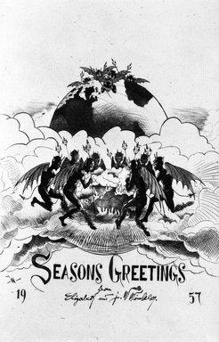 John W. Winkler (American, born Austria, 1890-1979). Season's Greetings Card, 1957. Etching on paper, sheet: 8 7/8 x 6 5/8 in. (22.5 x 16.8 cm). Brooklyn Museum, Gift of the artist, 78.97.16. © Estate of John W. Winkler