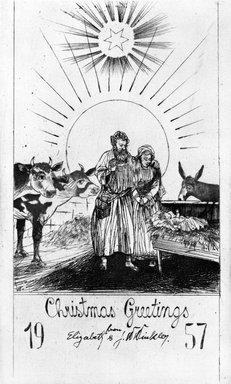 John W. Winkler (American, born Austria, 1890-1979). Season's Greetings Card, 1957. Etching on paper, sheet: 7 1/2 x 5 1/2 in. (19.1 x 14 cm). Brooklyn Museum, Gift of the artist, 78.97.17. © Estate of John W. Winkler