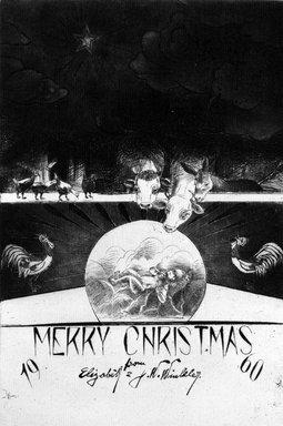 John W. Winkler (American, born Austria, 1890-1979). Season's Greetings Card, 1960. Etching on paper, sheet: 7 3/4 x 6 1/8 in. (19.7 x 15.6 cm). Brooklyn Museum, Gift of the artist, 78.97.19. © Estate of John W. Winkler