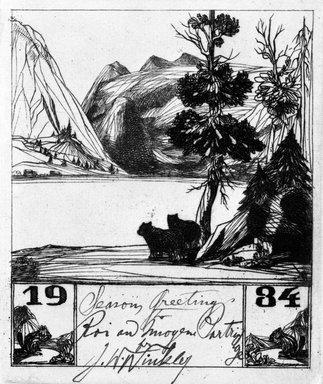 John W. Winkler (American, born Austria, 1890-1979). Season's Greetings Card, 1934. Etching on cream wove paper, sheet: 6 1/8 x 4 3/4 in. (15.6 x 12.1 cm). Brooklyn Museum, Gift of the artist, 78.97.5. © Estate of John W. Winkler