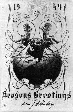John W. Winkler (American, born Austria, 1890-1979). Season's Greetings Card, 1949. Etching on laid paper, sheet: 7 x 5 1/8 in. (17.8 x 13 cm). Brooklyn Museum, Gift of the artist, 78.97.8. © Estate of John W. Winkler
