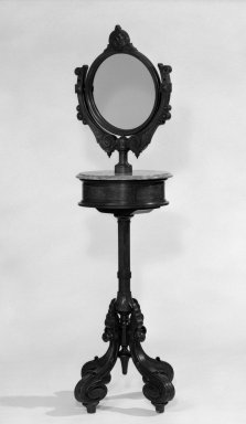 American. Shaving Stand, Base, Drawer, Top, Mirror and Screw, ca. 1870. Walnut, marble, 69 1/2 in. (176.5 cm). Brooklyn Museum, Gift of Mrs. James Cole, 79.10.1a-e. Creative Commons-BY