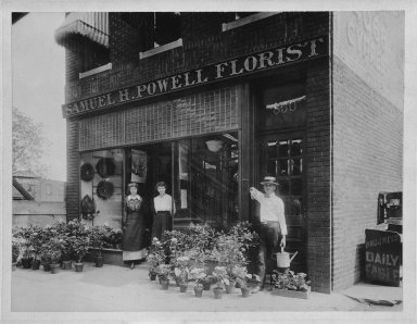American. Samuel H. Powell Florist (850 Jamaica Avenue), ca. 1910. Photograph in sepia, 6 x 8 in.  (15.2 x 20.3 cm). Brooklyn Museum, Gift of Herbert D. Wallace, 79.107.2