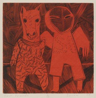 Scott Smith (American, born 1951). Just Friends, 1979. Engraving on plexiglass, sheet: 11 1/2 x 11 1/2 in.  (29.2 x 29.2 cm);. Brooklyn Museum, Designated Purchase Fund, 79.113.2. © Scott Smith