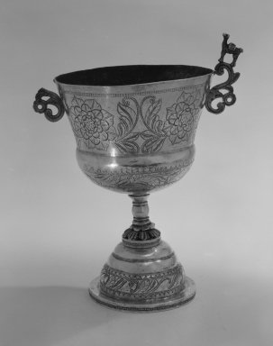 Chalice, 19th century. Metal; silver, 8 5/8 x 5 7/8 x 4 1/4 in. (21.9 x 14.9 x 10.8 cm). Brooklyn Museum, Gift of Mrs. Harold J. Roig in memory of Harold J. Roig, 79.123.4. Creative Commons-BY