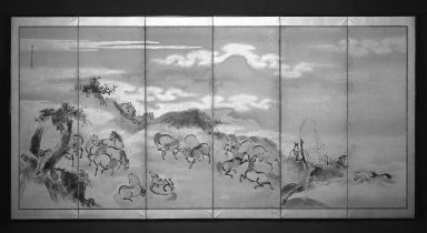 Kano Isen'in (Japanese, 1775-1828). Horses at Play, 1788. Six-panel screen, ink, paper, gold fleck, Each of 6 panels: 23 x 69 in. (58.4 x 175.3 cm). Brooklyn Museum, Gift of Dr. B. H. Kean, 79.127. Creative Commons-BY