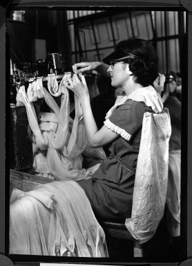 Lewis Wickes Hine (American, 1874-1940). [Untitled] (Women Making Stockings), 1936-1937. Gelatin silver photograph, 7 1/4 x 4 3/4 in. (18.4 x 12.1 cm). Brooklyn Museum, Gift of the National Archives, 79.143.134