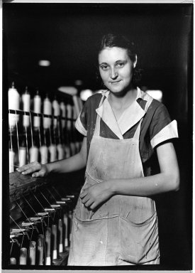 Lewis Wickes Hine (American, 1874-1940). [Untitled] (Thread Worker), 1936-1937. Gelatin silver photograph, 7 1/4 x 4 3/4 in. (18.4 x 12.1 cm). Brooklyn Museum, Gift of the National Archives, 79.143.69