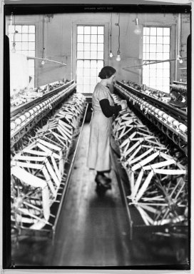 Lewis Wickes Hine (American, 1874-1940). [Untitled]  (Woman between Rows of Skein Wheels), 1936-1937. Gelatin silver photograph, 7 x 5 in.  (17.8 x 12.7 cm). Brooklyn Museum, Gift of The National Archives, 79.143.81