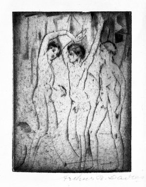 Arthur B. Davies (American, 1862-1928). Three Boys, 1917. Drypoint on laid paper, Sheet: 6 11/16 x 5 1/8 in. (17 x 13 cm). Brooklyn Museum, Gift of Mr. and Mrs. Morton Ostrow, 79.144.1