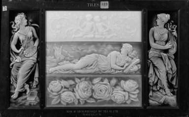 Isaac Broome. Tile, ca. 1880. Glazed earthenware, wood Brooklyn Museum, H. Randolph Lever Fund, 79.173.1