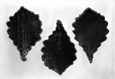 Okabe Susumu (Japanese,). Set of Three Leaf - Shaped Side Dishes, ca. 1950. Stoneware, Each Dish: 1 1/8 x 6 1/2 in. (2.9 x 16.5 cm). Brooklyn Museum, Gift of Sidney B. Cardozo, Jr., 79.178.5a-c. Creative Commons-BY