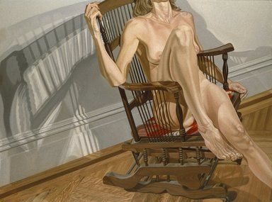 Philip Pearlstein (American, born 1924). Female Model on Platform Rocker, 1977-1978. Oil on canvas, 72 1/4 x 96 1/8 in.  (183.5 x 244.2 cm). Brooklyn Museum, Designated Purchase Fund, Dick S. Ramsay Fund, Exxon Income Fund, Healy Purchase Fund B, John B. Woodward Memorial Fund, and Restricted Contributions, 79.17. © Philip Pearlstein