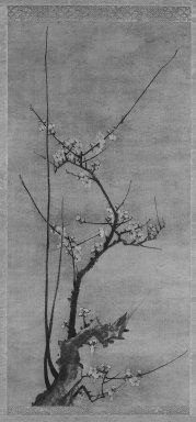 Kenko Shokei (Japanese, flourished ca. 1478-1506). Blossoming Plum, 16th century. Hanging scroll, ink on paper, Image: 28 3/8 x 13 1/2 in. (72.1 x 34.3 cm). Brooklyn Museum, Gift of Mr. and Mrs. Robert Feinberg, 79.180.1