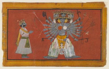 Indian. Vishvarupa: The Cosmic Form of Krishna, ca. 1820. Opaque watercolor and gold on paper, sheet: 3 3/4 x 6 1/8 in.  (9.5 x 15.6 cm). Brooklyn Museum, Anonymous gift, 79.186.1