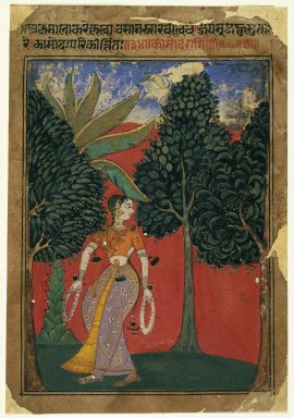 Indian. Kamoda Ragini, Page from a Ragamala Series, ca. 1605-1610. Opaque watercolor on paper, sheet: 7 15/16 x 5 1/2 in.  (20.2 x 14.0 cm). Brooklyn Museum, Gift of Amy and Robert L. Poster, 79.187.1