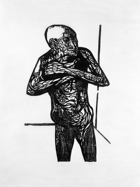 Leonard Baskin (American, 1922-2000). Terrified Old Man, ca. 1950. Woodcut, sheet: 39 7/8 x 28 5/8 in.  (101.3 x 72.7 cm);. Brooklyn Museum, Gift of Mr. and Mrs. Sid Feinberg, 79.22.6. © Estate of Leonard Baskin, Courtesy Galerie St. Etienne, New York