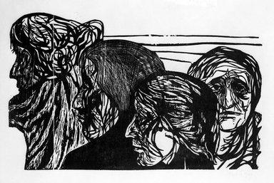 Leonard Baskin (American, 1922-2000). Untitled (Four Heads), 1949. Woodcut, sheet: 27 1/8 x 39 7/8 in.  (68.9 x 101.3 cm);. Brooklyn Museum, Gift of Mr. and Mrs. Sid Feinberg, 79.22.7. © Estate of Leonard Baskin, Courtesy Galerie St. Etienne, New York
