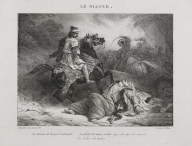 Théodore Géricault (French, 1791-1829). Le Giaour, 1823. Lithograph on wove paper, 5 15/16 x 8 3/16 in. (15.1 x 20.8 cm). Brooklyn Museum, Designated Purchase Fund, 79.228.2