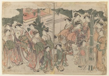 Kitagawa Utamaro (Japanese, 1753-1806). Courtesan's Entourage at New Year's Festival, ca. 1785. Diptych, 10 1/4 x 14 7/8 in. (26 x 37.8 cm). Brooklyn Museum, Gift of Dr. and Mrs. Maurice H. Cottle, 79.253.3