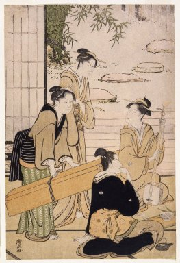 Torii Kiyonaga (Japanese, 1752-1815). Geisha and Shamisen Carrier, ca. 1780. Woodblock print, 15 x 10 in. (48.0 x 25.5cm). Brooklyn Museum, Gift of Dr. and Mrs. Maurice H. Cottle, 79.253.4