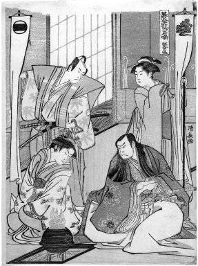 Kiyonaga (Japanese). Theatrical Scene, ca. 1780. Woodblock print, 10 1/2 x 7 3/4 in. (26.7 x 19.7 cm). Brooklyn Museum, Gift of Dr. and Mrs. Maurice H. Cottle, 79.253.5