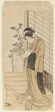 Utagawa Toyohiro (Japanese, 1773-1829). Lady Reading a Letter, 1790. Woodblock print, 12 1/4 x 5 3/4 in. (31.1 x 14.6 cm). Brooklyn Museum, Gift of Dr. and Mrs. Maurice H. Cottle, 79.253.7