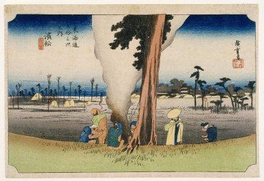 Utagawa Hiroshige (Ando) (Japanese, 1797-1858). Hamamatsu, from Fifty-three Stations on the Tokaido Highway (Tokaido Goju-san Tsugi no Uchi), ca. 1834. Woodblock print, Sheet: 9 3/4 x 14 1/4 in. (24.8 x 36.2 cm). Brooklyn Museum, Gift of Mr. and Mrs. Maurice H. Cottle, 79.253.9